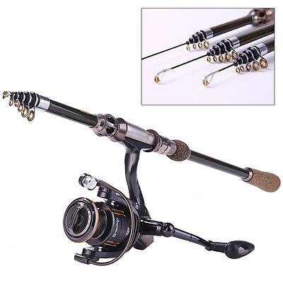 Spinning Fishing Rod and Reel Combo Set Telescopic Carbon Saltwater Boat Fishing