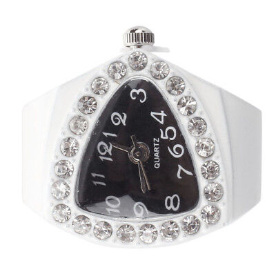 White Stretchy Rhinestone Finger Ring Time Watch 21mm HOT R7X7