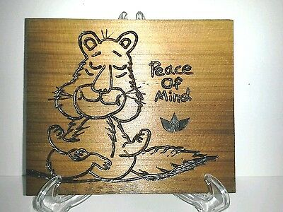 Peace Of Mind Squirrel Desk/Shelf Plaque W/Easel Original Art Recycled Wood