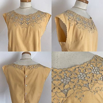 Vintage 50s Linen Top 1950s Phelps Couture Embroidered In Madeira Pinup Curvy 16