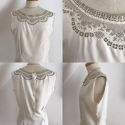 Vintage 40s Pure Silk Blouse Top Madeira Lace Goodwood 1940s Pinup Curvy 14