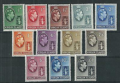Virgin Islands 1938-47 GVI Set to £1 Chalk & Ordiary Papers Mint Cat£135