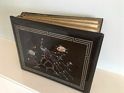 Japanese Lacquered Post Card Album- silk hand painted pages Circa 1910