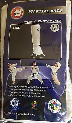 Martial Arts Shin & Instep pad Med Karate Judo Taekwondo Officially Approved SMA