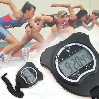 Handheld Digital LCD Chronograph Sports Stopwatch Counter Timer with Strap Hot