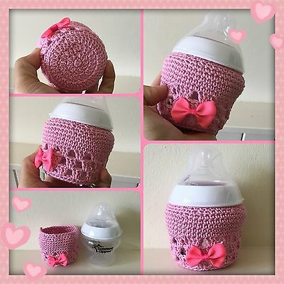 Hand crochet baby bottle Pink cover for tommee tippee 5oz ~ Unique New Baby Gift