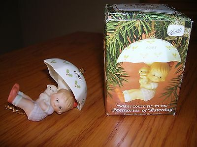 1993 dated Memories Of Yesterday ornament Girl dog umbrella Enesco NEW