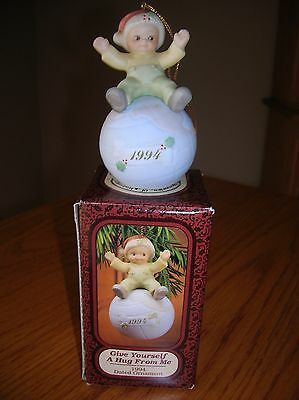 1994 dated Memories Of Yesterday ornament boy dog sitting on globe Enesco NEW