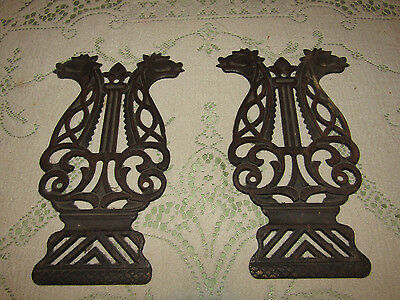 RARE! 1880's Dragon Head Cast Iron Plaques from Pump Organ Pedals! RARE!