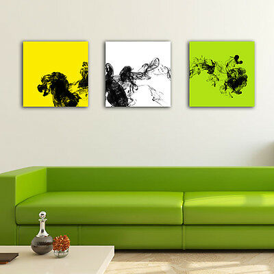 Yellow White Green Abstract Stretched Canvas Prints Framed Wall Art Home Decor