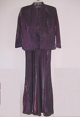 Long Dress and Jacket Formal Set Size 8 Milla Bell KM Collections Deep Plum