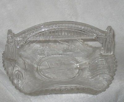 Clear Depression Glass Crown Crystal Sydney Harbour Bridge Commemmorative Dish