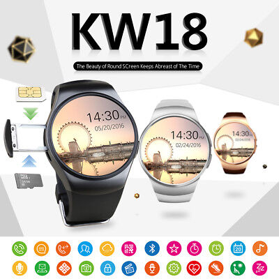 KW18 Bluetooth Smart Watch Wrist Phone Mate SIM GSM Heart Rate For Andriod IOS