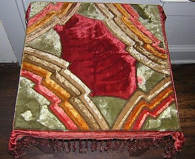 Vintage Art Deco Table Throw Fringed Velvet 32x34