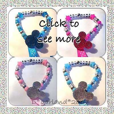 Personalised Dummy Saver Clip Bling Minnie Mickey Mouse, Pink Blue
