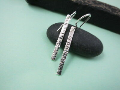 Hammered Sterling Silver Bar Earrings, Hand Crafted
