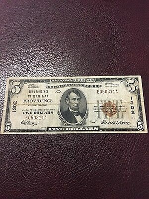 $5.00 Providence Rhode Island National Bank  Note 1929 #1302