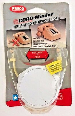 Preco/Conectl Cord-Minder Retractable Two-Way Pull Phone Cord 16ft (R-72-16)