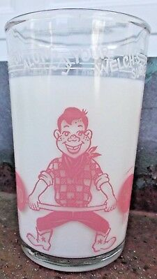 Vintage 1953 Welch's *HOWDY DOODY* Pink Child's Milk Glass, very nice condition!