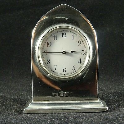 Antique Solid Silver Lancet Shaped  Edwardian Desk Clock, Birm 1906 by HB, RARE