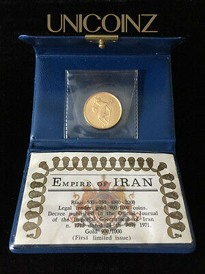 P2096] Pahlavi 2500 Year Empire 500 Rial 900 Gold Proof Coin Griffin 1350 (1971)