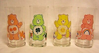 Care Bears Pizza Hut Glasses 1983 Complete Glass Set Of 6 New Mint Condition