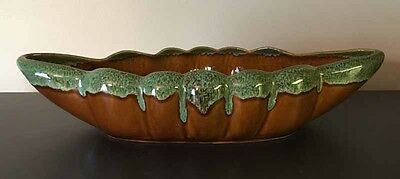 VAN BRIGGLE CONSOLE BOWL with TURQUOISE DRIZZLE GLACE