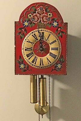 Vtg Red Rosemaled Wag-on-the-wall Clock Black Forest Germany Runs
