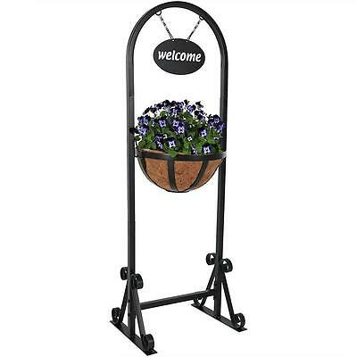 Hanging Basket Stand Planter Stand Metal 45 Inch Welcome Sign Outdoor Decor New