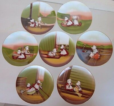 Complete Set of 7 ROYAL BAYREUTH SUN-BONNET BABIES Weekday Chores Plates 1974