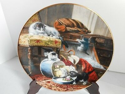 "Cat plate ""Mischief with the Hatbox"" 1st issue in  'The Victorian Cat' by Ronner"