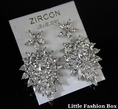 Superior Cut Cubic Zirconia Cluster Burst Flower Brides Party Earring UK New