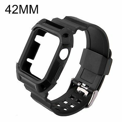 Apple Watch Strap 42mm with Shockproof Protective Case & Flexible TPU Wristband