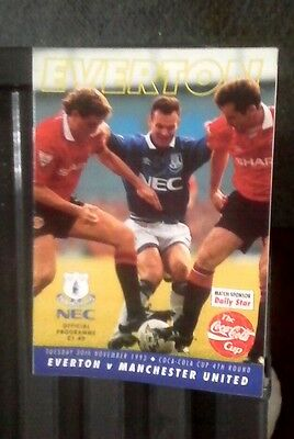 Manchester united v Everton away 1992/93 coca cola cup 4th round