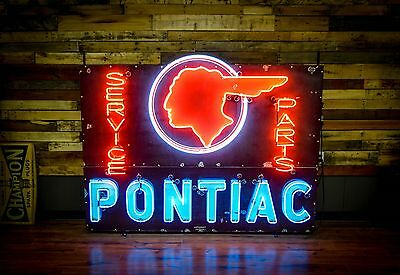 Early Pontiac Dealership Porcelain Neon Sign Gas Oil Station Advertisement RARE
