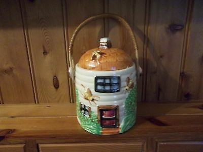 Cottage Ware Container With Wicker Handle