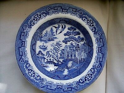 """Antique Warranted Staffordshire B&H Blue Willow Plate Dish Bowl 9 1/2"""""""