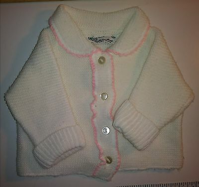 Vintage Baby or Doll Clothes Sweater White Pink Trim Japan