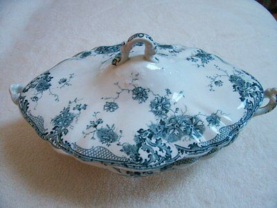 Antique Colonial Pottery Dianthus Diamond Shape Covered Serving Dish - Teal Blue