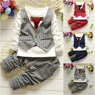 Newborn Baby Boys Gentleman Wedding Formal Suit Tuxedo Romper Outfit Clothes Set
