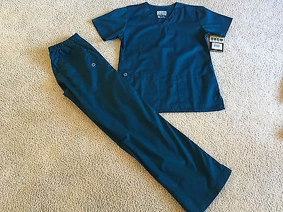 Wonder Work Wink Caribbean Blue Stretch Scrubs Top Pants Womens sz XS NWT