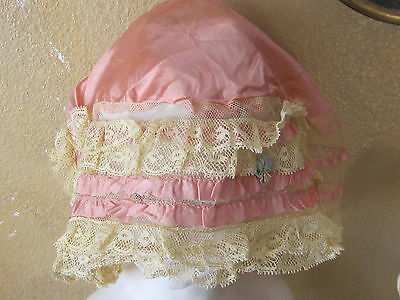 Roaring 20's Silk French Lace Trim +Silk Ribbon Work Beautiful Boudoir Cap Unuse