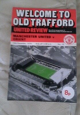 Manchester united v Orient 1974/75 2nd div  very rare home wt token
