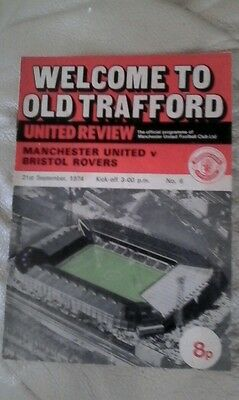Manchester united v Bristol rovers 1974/75 2nd div  very rare home
