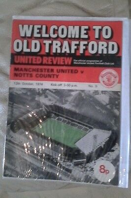 Manchester united v Notts county 1974/75 2nd div  very rare home