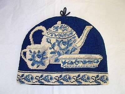 Blue & White Needlepoint Stitched Embroidery Tea Pot Cosy
