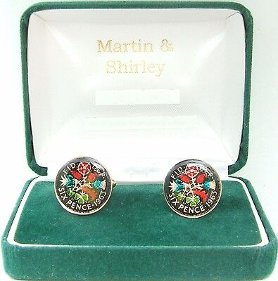 1963 Six pence cufflinks  real coins in Black & Colours