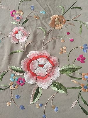 Vintage Silk Embroidered Piano Shawl