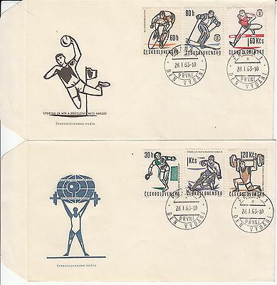 Sports 1963 Czechoslovakia 2 FDC's table tennis cycling ski weight lifting motor