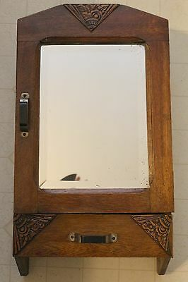 Solid Oak Art Deco Style Bathroom Cabinet With Mirror And Drawer